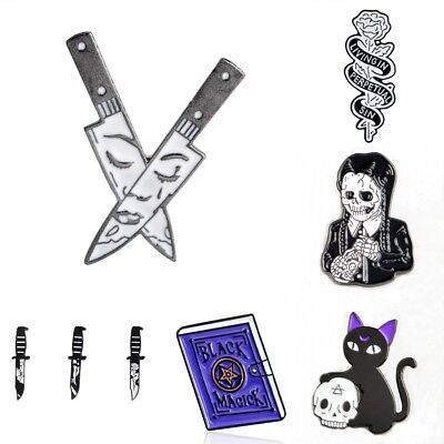 Punk Funny Witch Magic Book Enamel Brooch Pins Badge Coffin Death Skull - Coffin Witch