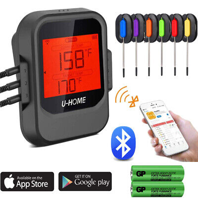 Digital Meat Thermometer APP Wireless Bluetooth Smart BBQ Thermometer w/6 Probes