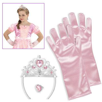 R Krone rosa Handschuhe Ring Mädchen Fasching Party # 96561 (Prinzessin Krone Ringe)