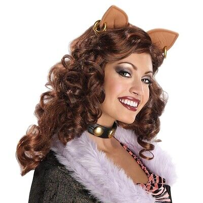 DAMEN CLAWDEEN WOLF PERÜCKE mit Ohren Halloween Monster High Tiger Katzen - Monster High Clawdeen Kostüm Mit Perücke