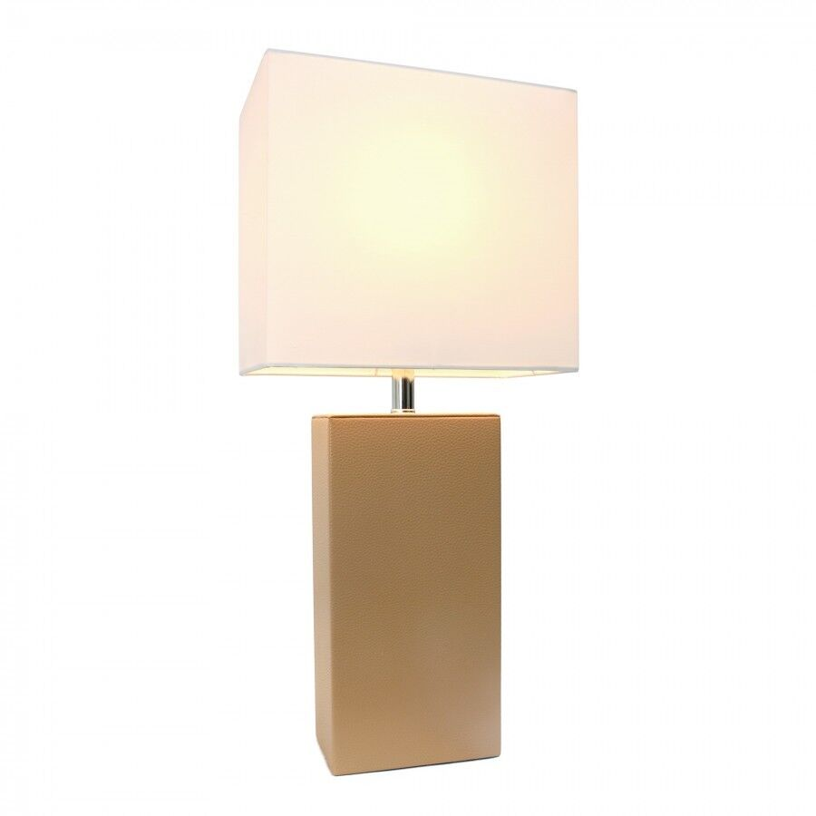 Elegant Designs LT1025-BGE Modern Leather Table Lamp with Wh