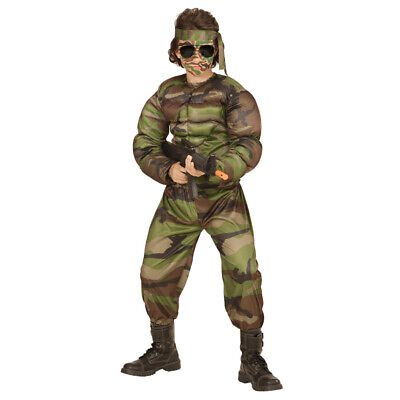 Armee Kinder Kostüme (KINDER MUSKEL SOLDATEN KOSTÜM # Karneval Jungen Vietnam Armee US Tarn-Anzug 0051)