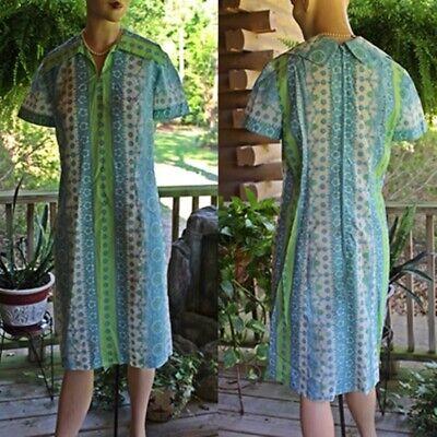 vintage 1960's 1970's Blue Flower Power Whip Cream Shift Day Dress Bust 38
