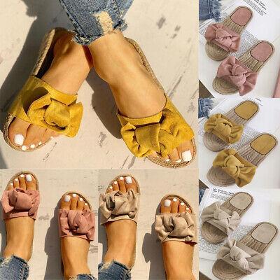 Women Summer Butterfly-Knot Slipper Flat Beach Slippers Open Sandals Size 5-11