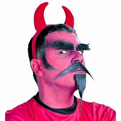 TEUFEL BART & AUGENBRAUEN Halloween Teufelsbart Set Satan Kostüm Make up - Halloween Bart Kostüm