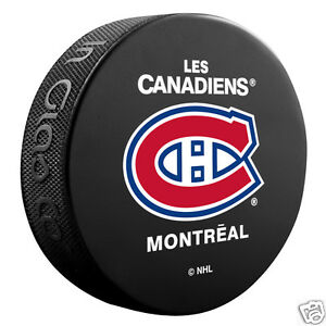 MONTREAL-CANADIENS-Les-Habs-Basic-Team-Logo-Model-SOUVENIR-PUCK-NEW-In-Glas-Co