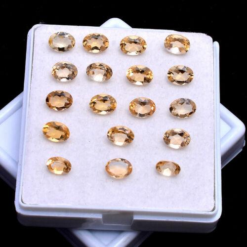 VVS 18 Pcs Natural Citrine Finest Quality Oval Faceted Cut 7mm-8mm Gemstones Lot