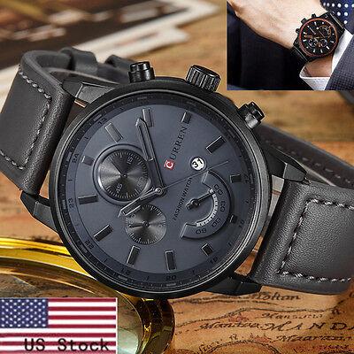 Gf Curren Fashion Men Sports Analog Quartz Leather Stainless Steel Wrist Watch