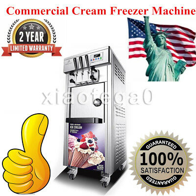 Bql-7225 Commercial Soft Serve Ice Cream Freezer Machine 20-30lh With 3 Flavors