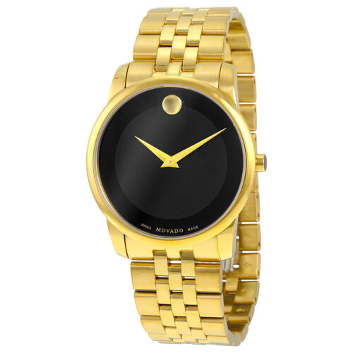 $540.00 - Movado Museum Classic Black Dial Stainless Steel Yellow PVD Mens Watch 0606997