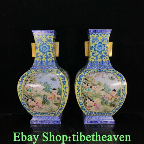 "14.6"" Yongzheng Old China Colour Enamel Porcelain Tongzi Flower Bottle Pair JL"