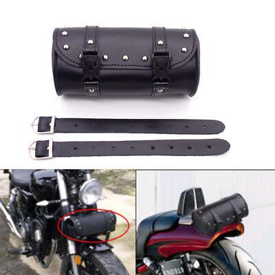 Black Motorcycle Tool Bag Handlebar Sissy Bar Saddlebag Roll Barrel For Honda