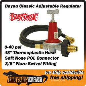 lpg propane regulator adjustable high pressure 0 40 psi bayou classic 5hpr 40 ebay. Black Bedroom Furniture Sets. Home Design Ideas
