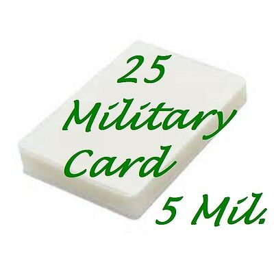 Military Card 25 Pack Laminating Laminator Pouch Sheets 5 Mil. 2-58 X 3-78