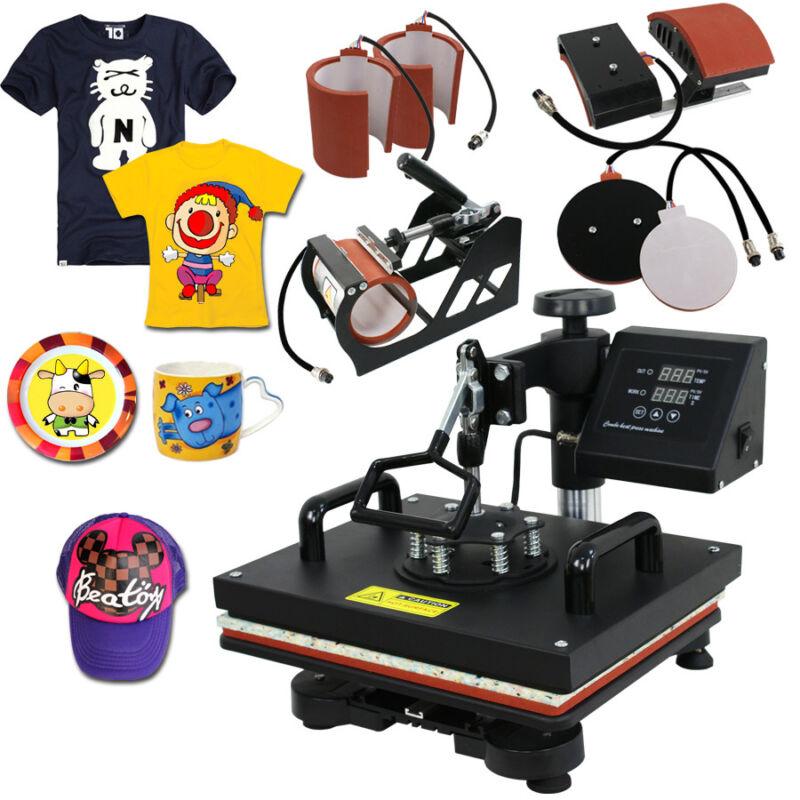 "USED 6in1 Heat Press Machine 12""x15"" Transfer Subimaltion T-shirt Cap Swing Mug"
