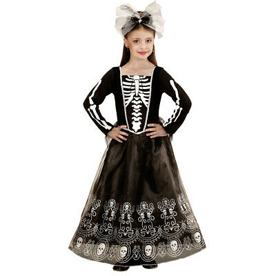 SKELETT KOSTÜM KINDER Halloween Karneval Totenkopf Zombie Kleid Mädchen # 0224