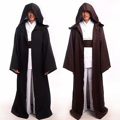 Jedi Knight Darth Vader Adult Obi Wan Cloak Robe US SELLER Black Brown Wars Star Jedi Knight Cloak