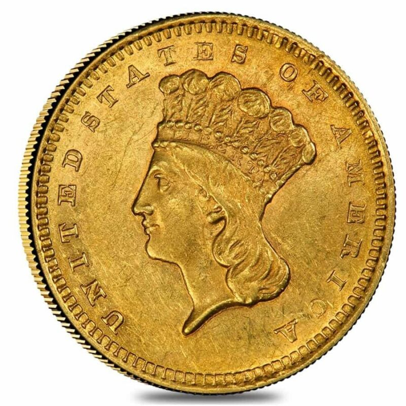 $1 Gold Indian Princess Head Type 3 - Almost Uncirculated AU (Random Year,
