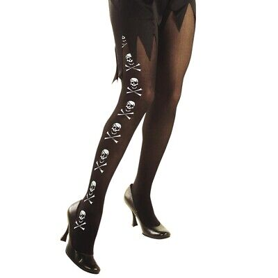 PIRATIN TOTENKOPF STRUMPFHOSE # Motto Party Damen Piraten Kostüm Zubehör XL - Damen Piraten Kostüm Zubehör