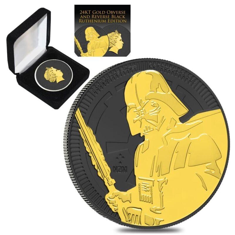 Sale Price - 2019 1 oz Niue Silver $2 Star Wars Darth Vader Black Ruthenium 24K