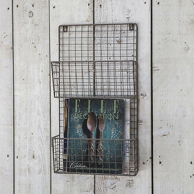 Vintage Industrial Wire Locker Room Shelving Storage Letter Magazine Wall Rack