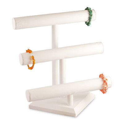White Leather 3 Tier T-bar Bracelet Jewerly Display Stand Holder