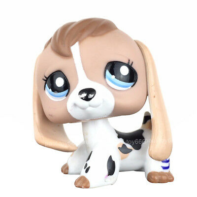 Cow Eye - Littlest Pet Shop Puppy Dog White Black Tan Blue Eye Cow Print Baby Beagle #2207