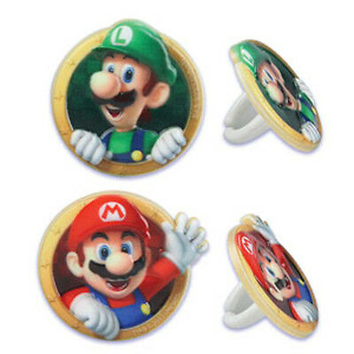 12 Cake Cupcake Ring - 12 Super Mario Bros Luigi Cupcake Rings Toppers Cake Decorations Party Favors