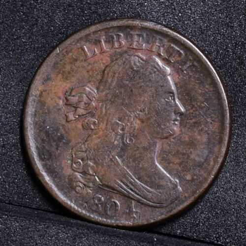 1804 Half Cent - Plain 4 No Stems - VF Details (#31554)