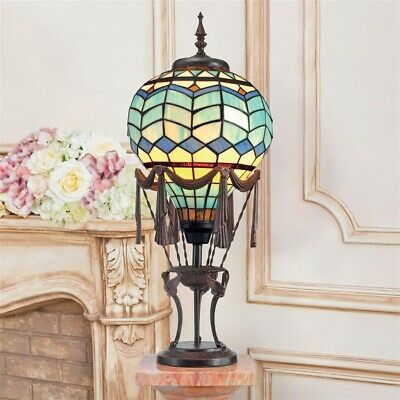Le Flesselles Hot Air Balloon Illuminated Design Toscano Stained Glass Lamp Designed Hot Air Balloon