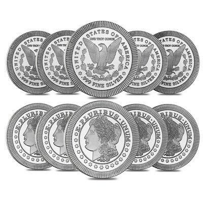 Lot of 10 - 1 oz Morgan Stackable Silver Round .999 Silver