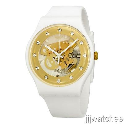 7cad7c1aad43 New Swatch Sunray Glam Gold Skeleton Dial White Silicone Watch 42mm SUOZ148   85