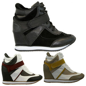 WOMENS-LADIES-HIGH-HEEL-LACE-WEDGE-HI-HIGH-TOP-TRAINER-ANKLE-BOOTS-BOOTIES-SIZE