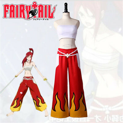 HOT!  Fairy Tail Erza Scarlet Flame Outfit Cosplay Costume Custom Made](Fire Fairy Costumes)