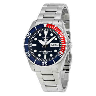 Seiko 5 Dark Blue Dial Diver Stainless Steel Automatic Pepsi Bezel Men's Watch