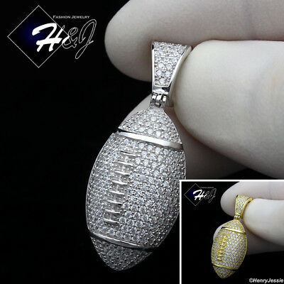 MEN 925 STERLING SILVER ICED BLING GOLD/SILVER 3D FOOTBALL CHARM PENDANT*SP205