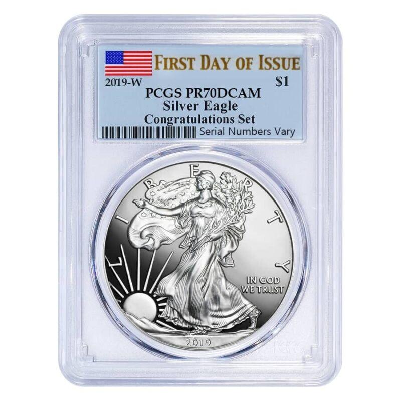 2019-W 1 oz Proof Silver American Eagle Congratulations Set PCGS PF 70 DCAM FDOI