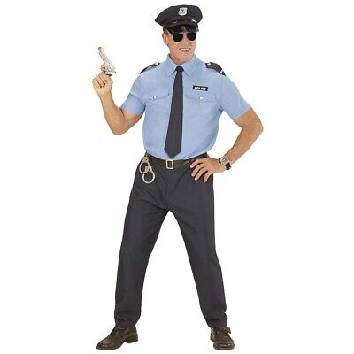 POLIZISTEN HERREN KOSTÜM & MÜTZE Karneval Cop Anzug - Polizei Kostüm Männlich
