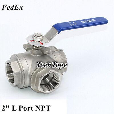 2 Inch 3 Way Ball Valve Npt L Port Stainless Steel 1000 Psi Anticorrosive Fedex