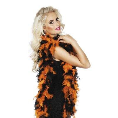 FARBIGE FEDERBOA Federschlange Charleston Damen Kostüm Boa orange-schwarze 52657 (Orange Farbige Kostüme)