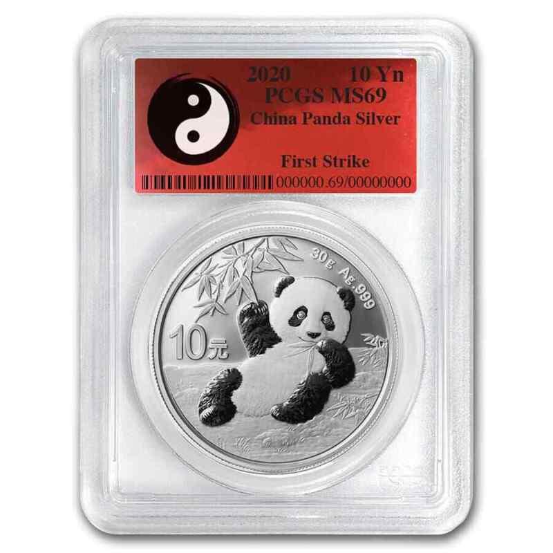 2020 China 30 gram Silver Panda MS-69 PCGS (FS, Yin-Yang) - SKU#204315