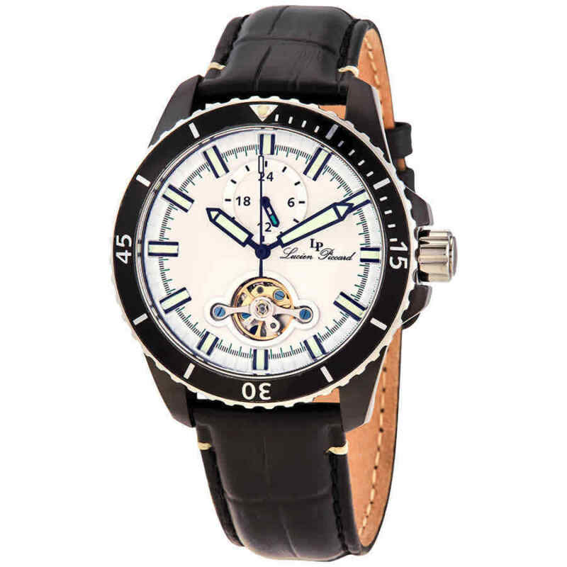 Lucien Piccard Automatic White Dial Black Leather Men Watch 1298A4