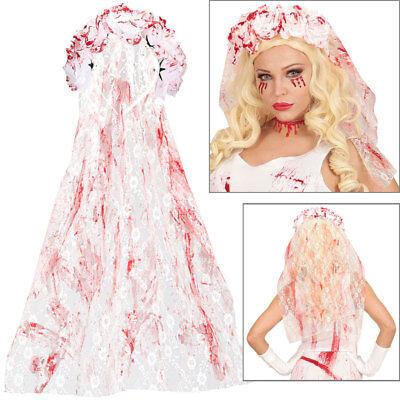 BLUTIGER BRAUTSCHLEIER Haarreif Blut Braut Schleier Halloween Kostüm Party 19321