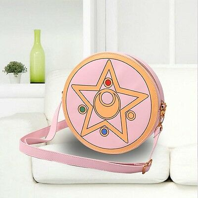 Hot Harajuku Sailor Moon PU Round Zipper Makeup Bag Calvin Collectibles Handbag