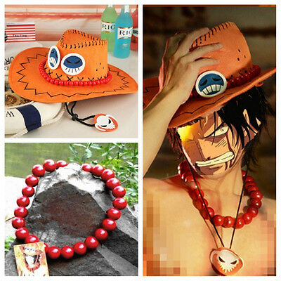 One Piece Portgas D Ace Cosplay Wooden Beads Necklace + Cosplay Hat Cap Costume
