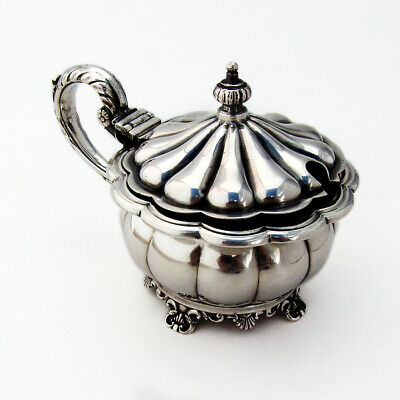 Birks Lobed Mustard Pot Foliate Handle Cobalt Glass Liner Sterling Silver