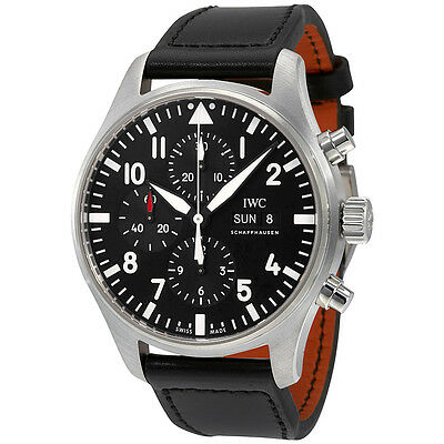 IWC Pilot Black Automatic Chronograph Mens Watch IW377709