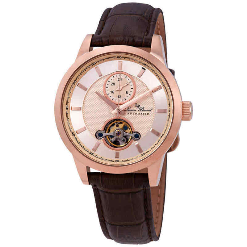 Lucien Piccard Open Heart GMT Automatic Rose Dial Men Watch