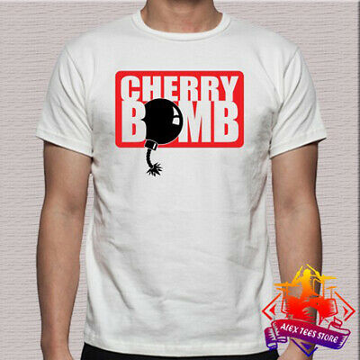 Cherry Bomb Logo Exhaust Headers Men's White T-Shirt Size S - -