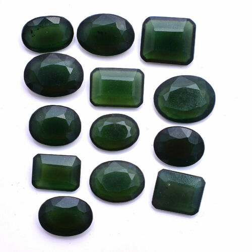 Natural Serpentine 13 Pcs Lot Untreated 13mm-18mm Faceted Cut Loose Gemstones